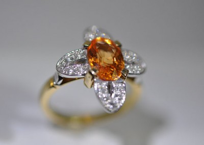Bague grenat spessartite diamants or