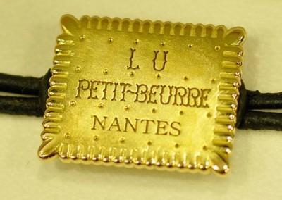 Bracelet Petit Beurre de LU or jaune et cuir