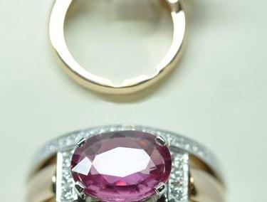 Bague saphir rose diamants. Or rose et or blanc.