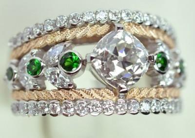 Bague platine, diamant coussin