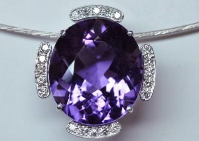 Pendentif améthyste diamants