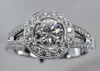 bague or blanc diamants avec double anneau diamanté