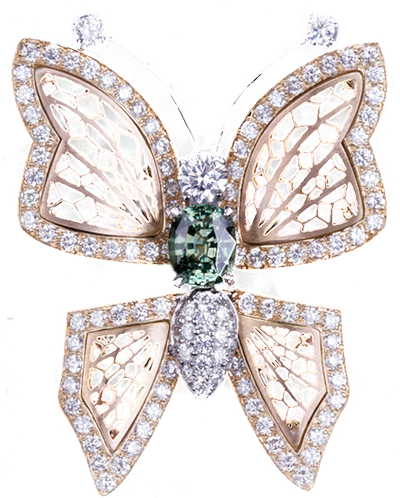 Pendentif papillon en diamant