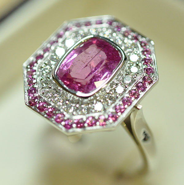 Sehr Bague saphir rose diamants entourage saphirs • Bijouterie Griffon BD53