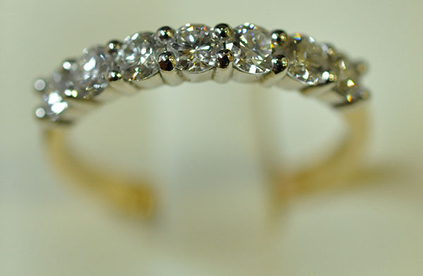 Platinum Diamond Yellow Gold wedding ring
