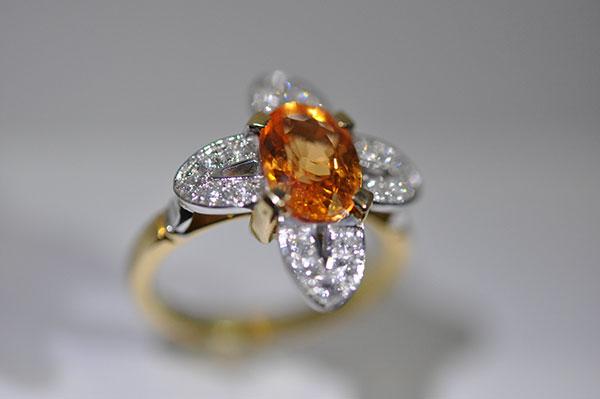 Spessartite gold garnet ring