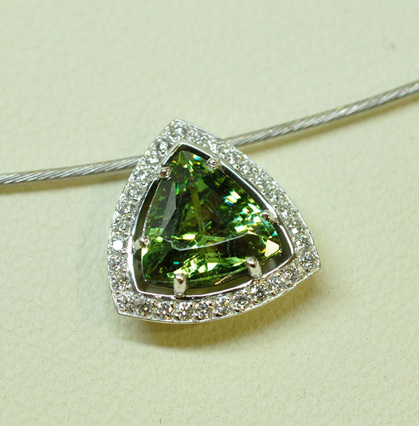 Garnet diamond demantoid pendant