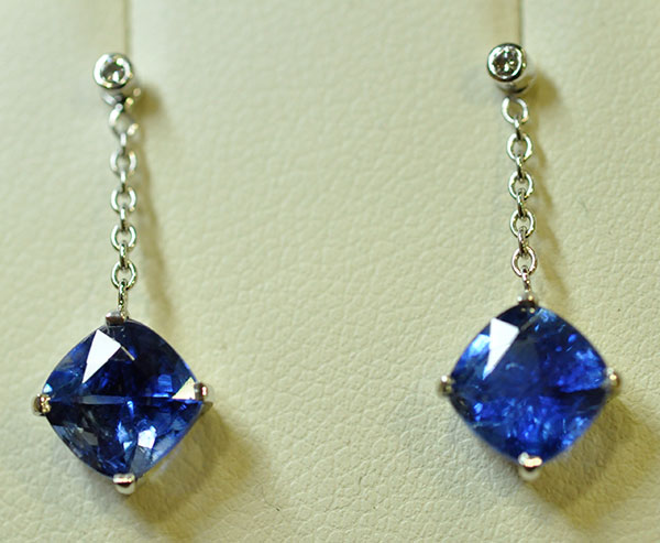 White gold cyanite and diamond earrings