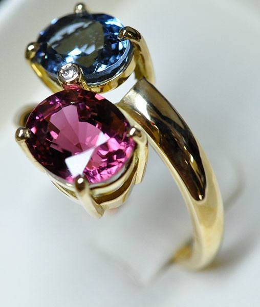 You and me aquamarine ring Santa Maria and rubellite tourmaline on yellow gold