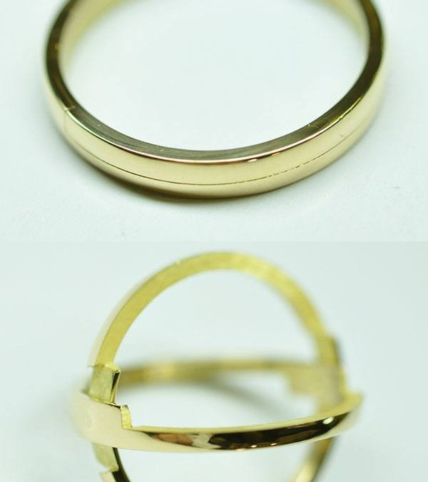 Secret wedding ring, modern yellow gold