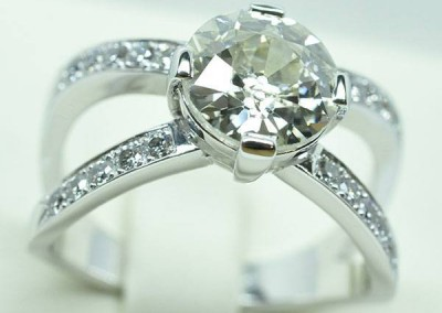 Bague diamants or blanc