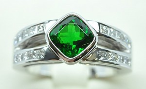 Bague grenat tsavorite diamants princesses
