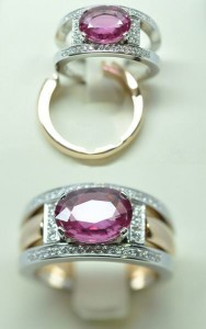 Bague saphir rose diamants. Or rose et or blanc