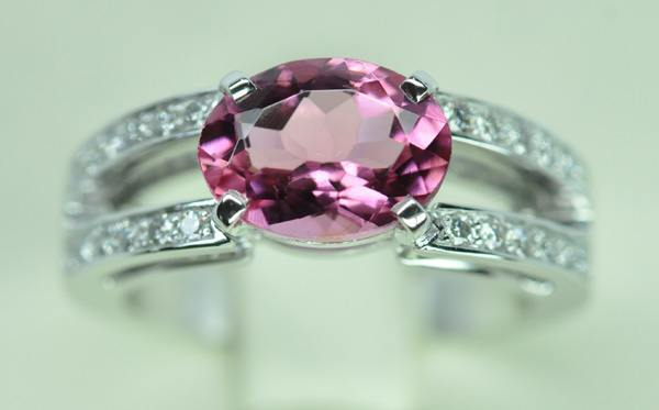 Bague Tourmaline rubellite diamants or blanc