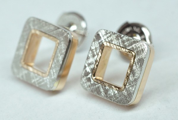 Platinum rose gold earrings