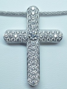 Croix pavage diamants or blanc