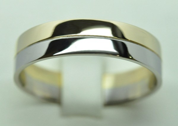 You & me white gold yellow gold wedding ring