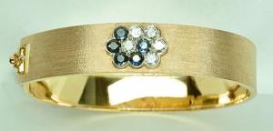 Bracelet fleurs saphirs diamants