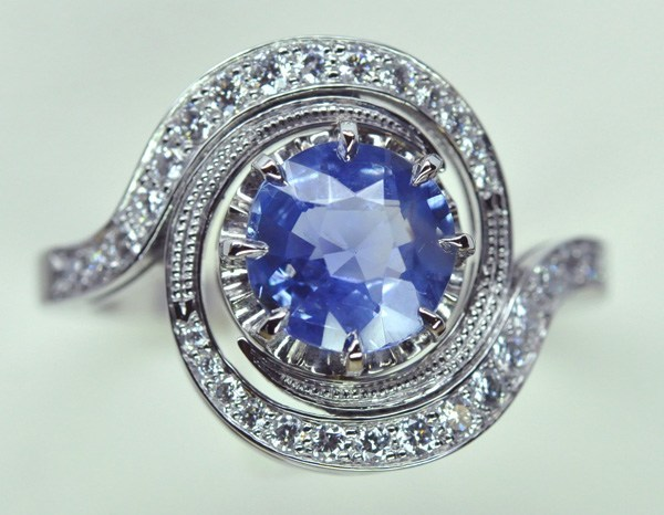 Platinum tourbillon ring, Ceylon sapphire and diamonds