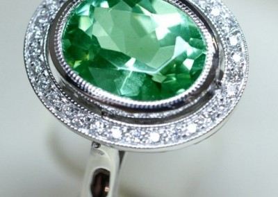 Bague tourmaline verte & diamants