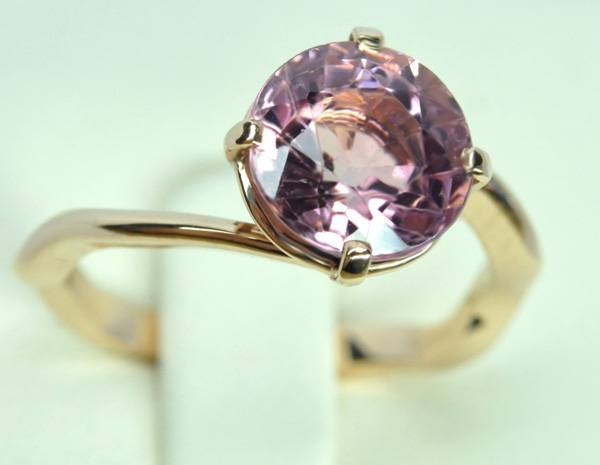 Bague tourmaline rose & or rose