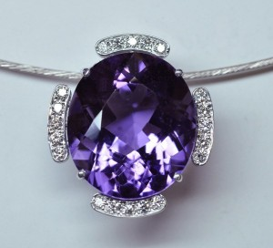 Pendentif améthyste diamants monture or blanc