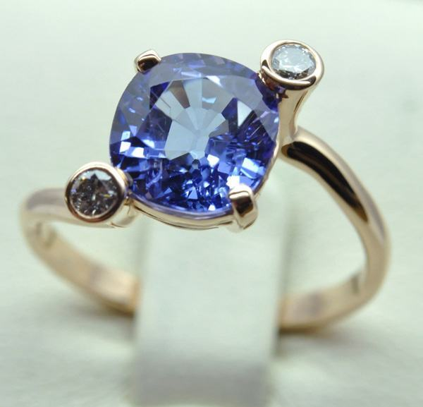 Tanzanite cushion ring