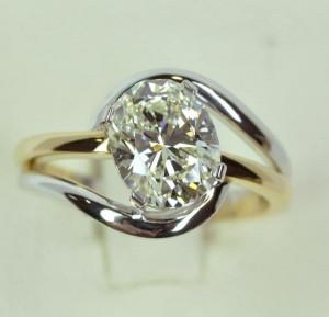 Solitaire diamant coussin