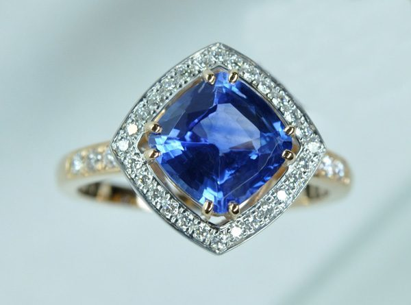 Diamond cushion sapphire ring