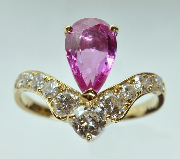 Sapphire pink pear diamond yellow gold ring
