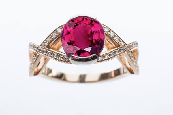 Birthstone ring, rubellite tourmaline mounted on rose gold