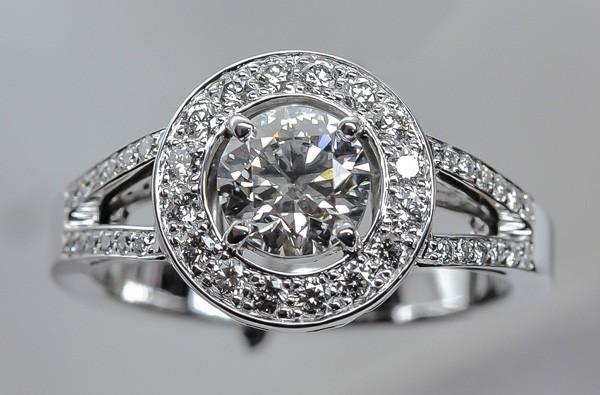 white gold diamond ring with double diamond ring