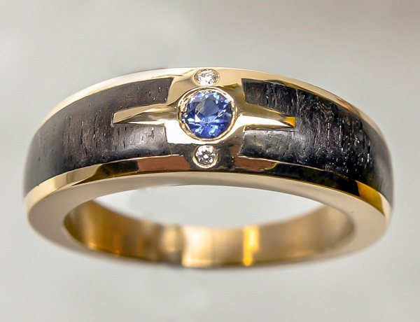 Rose gold ebony ring with sapphire diamonds