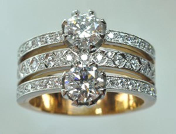 Toi & moi diamants platine or rose