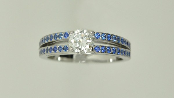 Ring double rings white sapphires diamonds