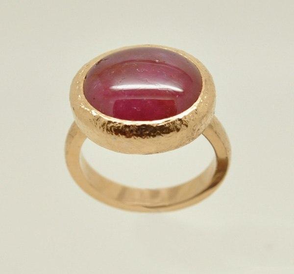 Rose ruby cabochon ring. Piquet metal