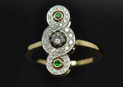 Bague de style ancien. Diamants, grenats tsavorites platine or jaune – 2/2