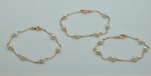 Bracelets perles et or rose