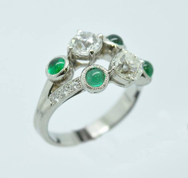 Duplicate platinum emerald diamond ring