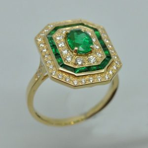Bague émeraudes diamants