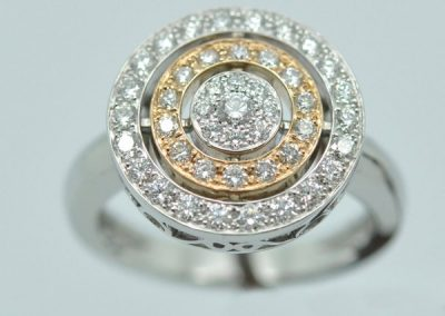 Bague Saturne. Or rose or blanc diamants