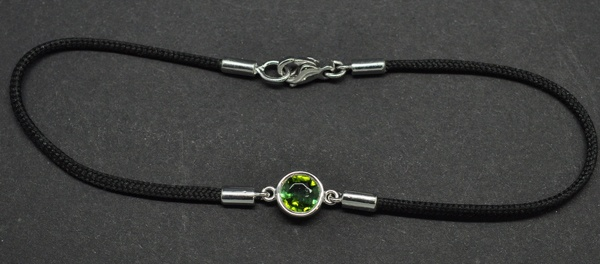 Green tourmaline bracelet mounted on white gold