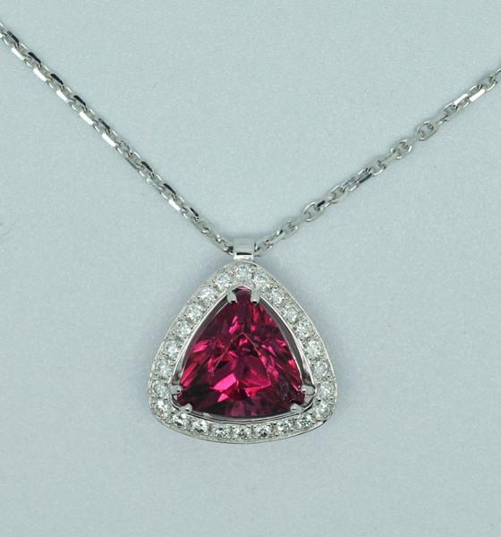 Pendentif tourmaline rubellite diamants
