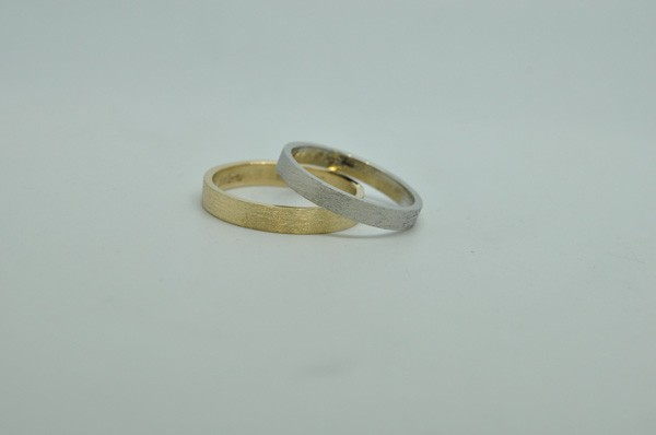 White gold and yellow gold wedding rings