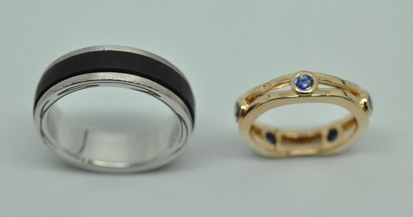 Rings removable white gold ebony
