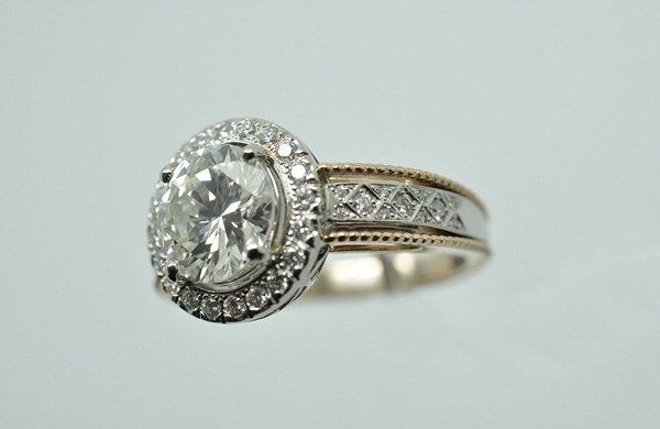 Bague diamant platine et or rose