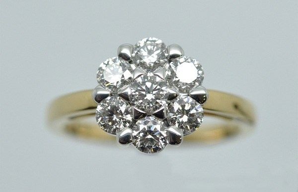 "Ring ""Star"" diamonds mounted on white gold and yellow gold"