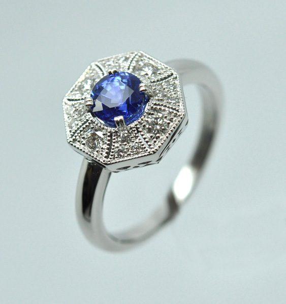 "Sapphire diamond ring, white gold frame ""palladié"""