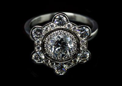 Bague « Vauban »  Monture platine diamants