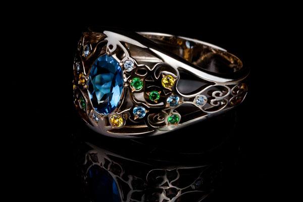 Arabesque Ring Aquamarine Garnet savorite Yellow Sapphire And Diamond Setting In Rose Gold